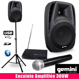 Powered speaker 300W, MIC...