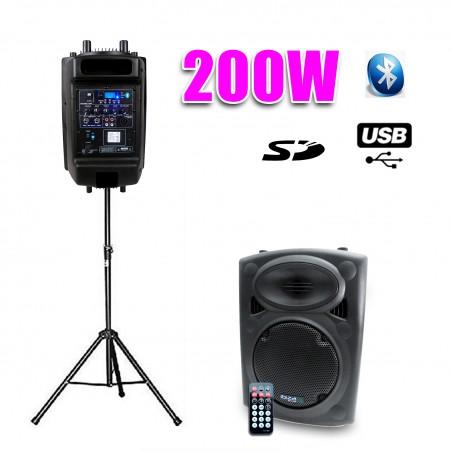 "Dj amplified speaker 8 ""200W 20cm USB / SD / BT + foot"