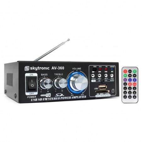 SkyTronic Amplificateur karaoké 2x40W - FM/SD/USB/MP3 + Télécommande AV-360