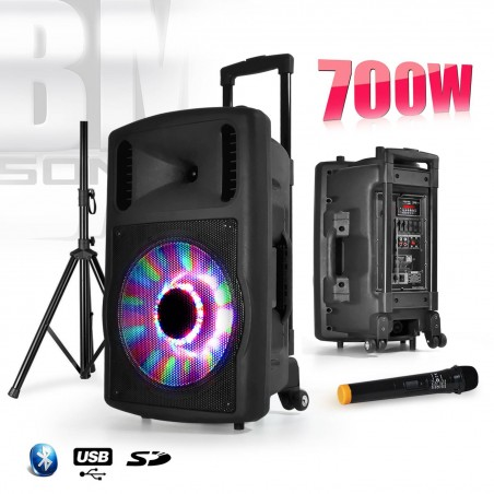 "Mobile audio speaker 700W / 12 ""RGB LED + Microphone + Phone + Foot - FUZZY12LED-BT"