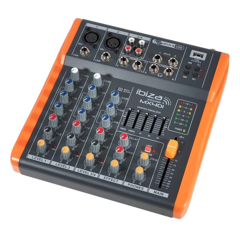 Mixer / 4-channel console - Extra compact - USB - Ibiza Sound MX401