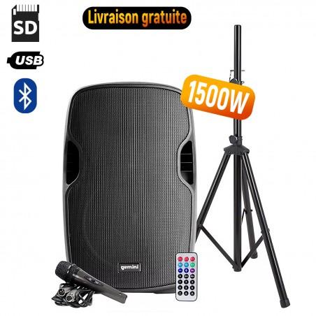 Speakers GEMINI active AS-12BLU-PK - 1500W - USB / SD / BT - With Tripod + Microphone
