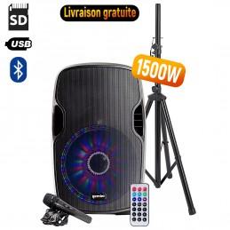 Enceinte active à LED GEMINI AS-12BLU-LT-PK - 1500W - USB/SD/BT - Avec trépied + Micro