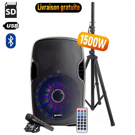 Active speaker LED GEMINI AS-12BLU-LT-PK - 1500W - USB / SD / BT - With Tripod + Microphone