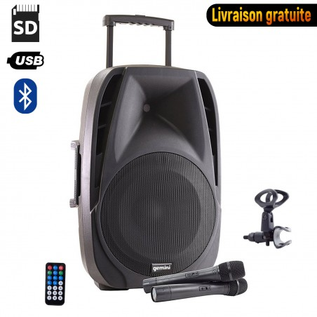 "active speaker self GEMINI ES15-TOGO 15 ""- 800W - USB / SD / BT + 2 wireless microphones + such"