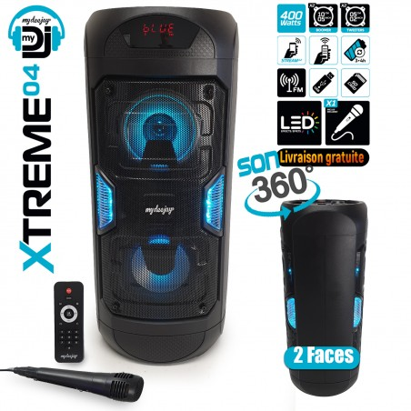 independent speaker MyDj XTREM04 360 ° LED 2 sides - 400W - USB / BT / FM / AUX - Remote + Mic