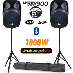 "Pack 2 enceintes amplifiées MyDj WAVE900 38cm/15"" - 900W, USB/SD Bluetooth + Pieds + Sac"