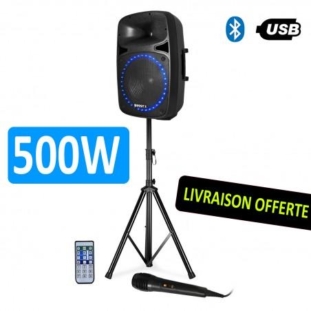 "SOUND SYSTEM 500W BOOST-PK15A-SET with FM RADIO TUNER, USB drive / SD BLUETOOTH + 15 ""/ 38CM"