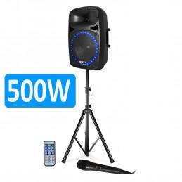 """SYSTEME DE SONORISATION 500W BOOST-PK15A-SET avec TUNER RADIO FM, Lecteur USB/SD + BLUETOOTH 15""""/38CM"""