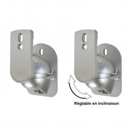 Support mural gris pour enceinte - finition silver - Par 2 - réglable en inclinaison