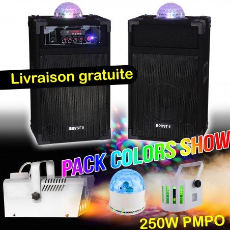 Active-Passive Speakers 250W PMPO KS234ASTRO-BOOST + karaoke + Astro Pack-COLOR SHOW smoke machine lights + 2 games
