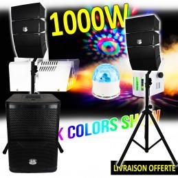 Pack DJ Pure Array 1000 - Enceintes + Caisson + Pieds - 1000W USB/SD/BT + Pack COLOR-SHOW Machine à fumée + 2 jeux lumières