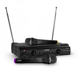 Système 2 microphones sans-fils UHF 863.2 & 864.2 MHz - Party Sound & Light PARTY-200UHF
