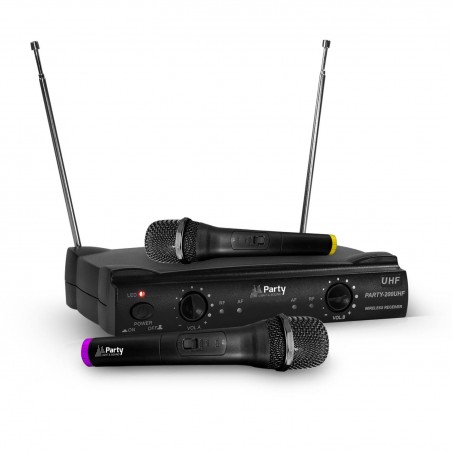 System 2 microphones without son-UHF 863.2 & 864.2 MHz - Party Sound & Light PARTY-200UHF