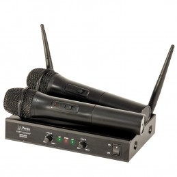 Système 2 microphones sans-fils UHF 863.2 & 864.2 MHz - Party Sound & Light PARTY-200UHF
