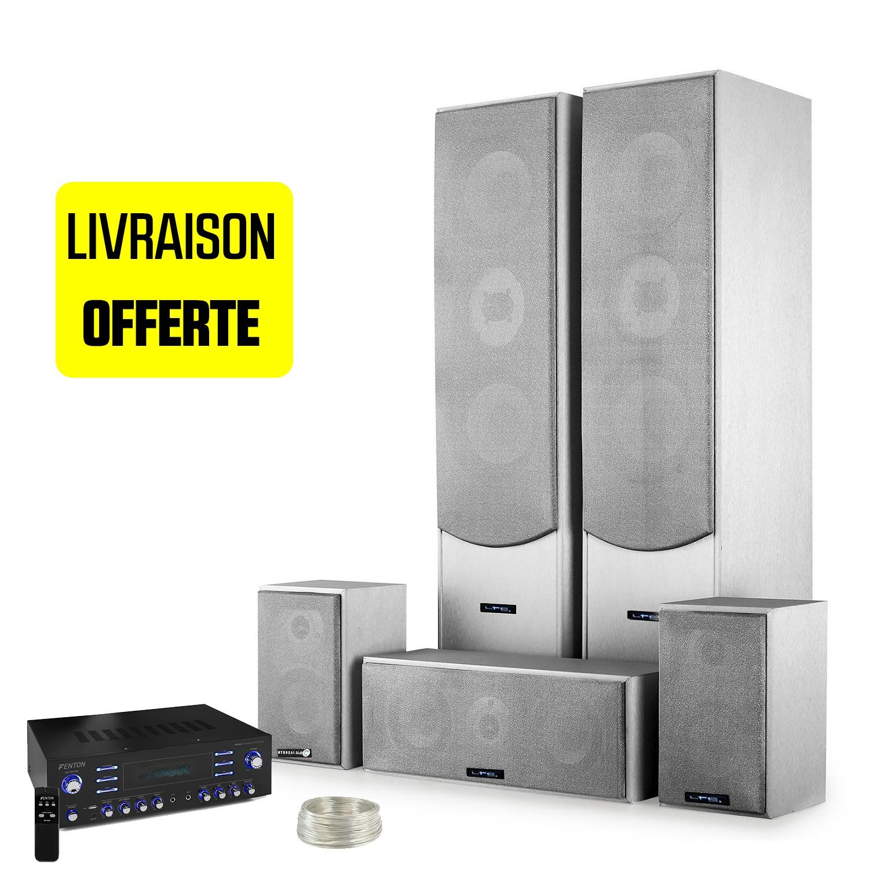Ensemble 5 enceintes E1004 Silver Hifi / Home-Cinéma 850 W LTC + Amplificateur Surround 5 canaux MP3