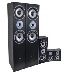 Ensemble 5 enceintes LTC E1004 noire Hifi / Home-Cinéma 850W + Amplificateur USB AV-320 Karaoké Hifi