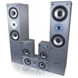 Ensemble 5 enceintes E1004 Silver Hifi / Home-Cinéma 850 W LTC + Amplificateur AV-320 de 2 x 100W RMS