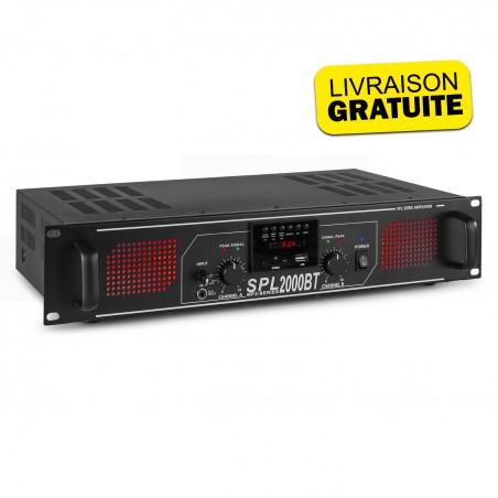 Amplifier Skytec SPL2000BTMP3 2 x 1000W - BT / USB / SD / AUX - black LED + EQ