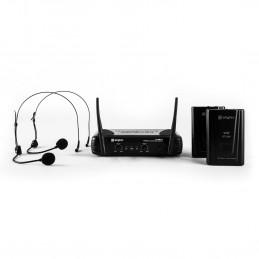 SkyTec STWM712H Système sans fil VHF 2 canaux avec serre-tête - 2 casques 2 émetteurs et un récepteur - Portée jusqu'à 50 mètres