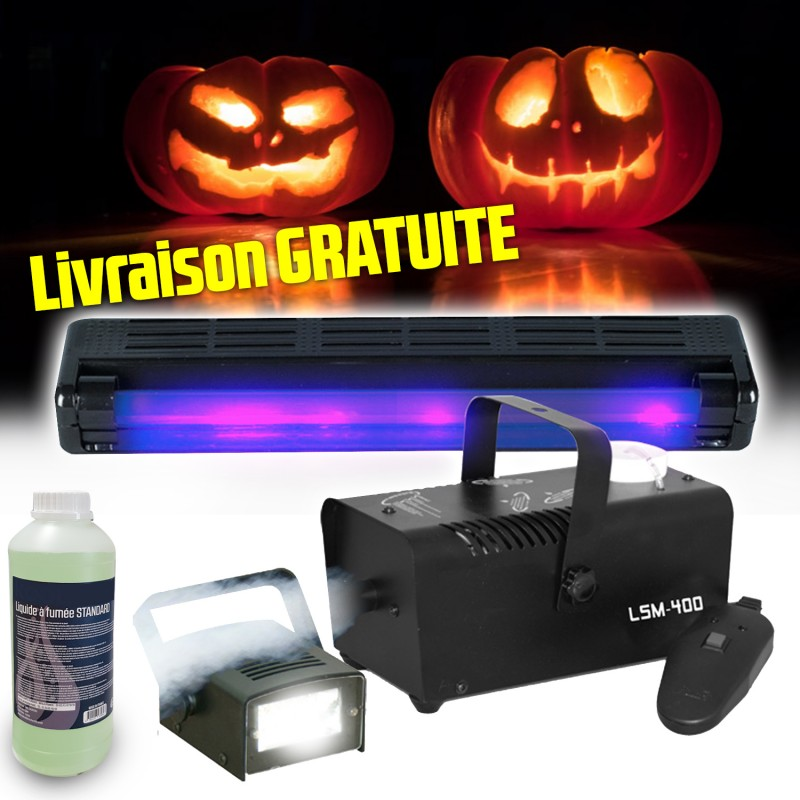 Pack HALLOWEEN Boost FOG & FEAR 2 avec Machine à fumée + 1L de liquide, Réglette UV + Mini Strobe