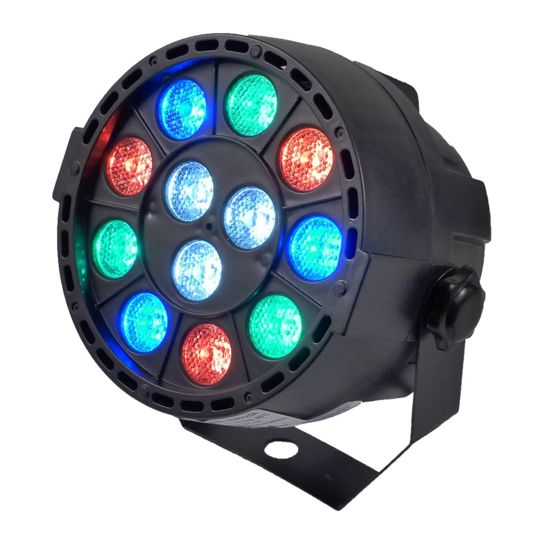 Jeu de lumière PAR MINI sur batterie à LEDs RGBW 12X3W DMX + étrier de fixation