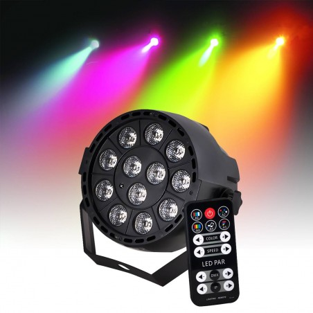 Projector battery PAR LEDs RGB3 12X3W 3-en-1 DMX Strobe IBIZA LIGHT