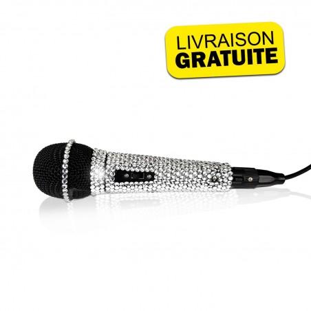 NJS280 Microphone for Singing Effect Silver Crystal BLING BLING - XLR - Jack 6.35mm - Length 3 meters