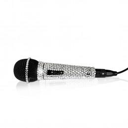 Microphone NJS280 pour Chant Argenté Effet Cristal BLING BLING - XLR - Jack 6,35mm - Longueur 3 mètres