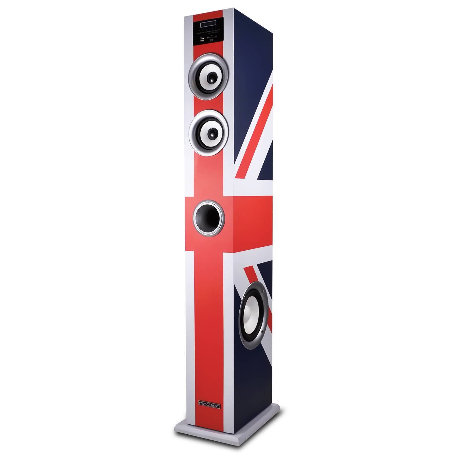 Madison MAD-CENTER100-UK Colonne multimédia amplifiée 100W FM/USB/SD/BT drapeau Royaume-Uni