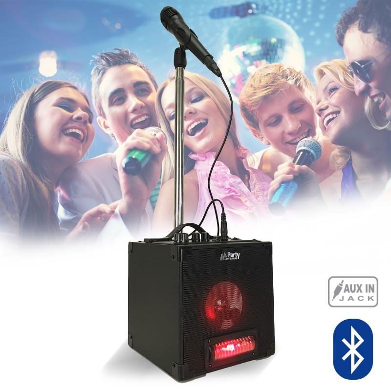 Pack Enceinte Autonome Karaoké Bluetooth Avec Jeux De Lumière Micro Et Support