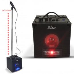 Pack enceinte autonome Karaoké Bluetooth avec jeux de lumière, micro et support