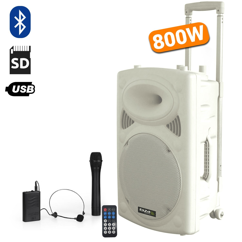 "Enceinte autonome 15"" PORT15VHF-BT-WH - 800W - USB/BT/SD/MP3 + 2 micros sans fils + Tel"