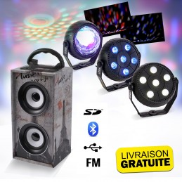 Mini-Colonne sur batterie 12W USB/SD/AUX/BLUETOOTH/FM - PARIS + Pack de 3 jeux de lumière à led - Astro RGB, PAR Stroboscope