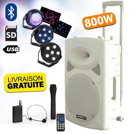 """independent speaker 15 """"PORT15VHF WH-BT-800W - USB / BT / SD / MP3 + 2 microphones + Pack of 3 light sets Led"""