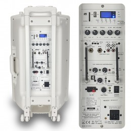 """Enceinte autonome 15"""" PORT15VHF-BT-WH 800W - USB/BT/SD/MP3 + 2 micros + Pack de 3 jeux de lumière à led"""
