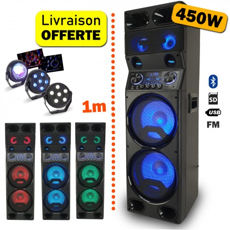 Active speaker TS450 LED - USB / BT / SD / FM - 450W + Remote + Pack of 3 light sets LED PARTY-TRIFX