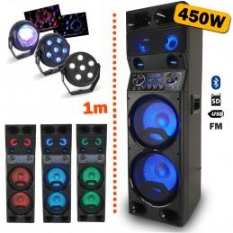 Enceinte active TS450 à LED - USB/BT/SD/FM - 450W + Télécommande + Pack de 3 jeux de lumière à led PARTY-TRIFX