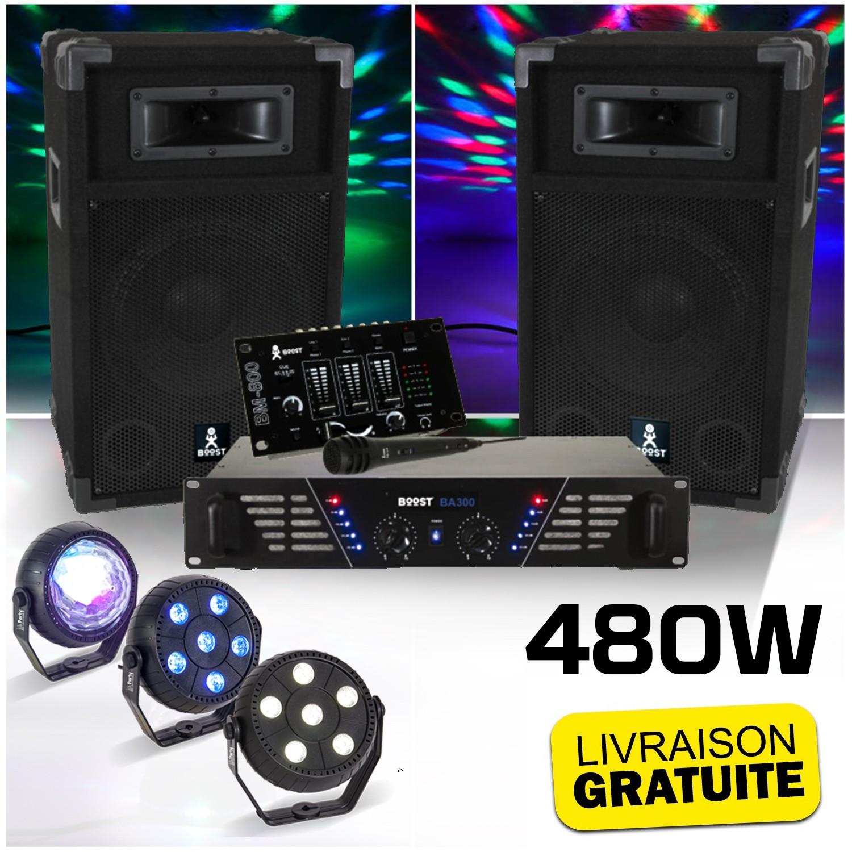 BOOST DJ-300 Pack sonorisation avec Enceintes Table de mixage Amplificateur 480W + Pack de 3 jeux lumière à led PARTY-TRIFX