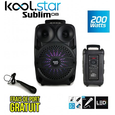 SUBLIM08 standalone speaker 200W Led Koolstar with micro / Function BT / USB / AUX and appplication smartphone!
