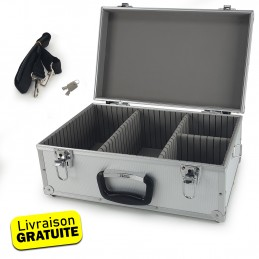 Coffret valise pour 60 Cd - Flight case modulable - 424 x 265 x 173 mm