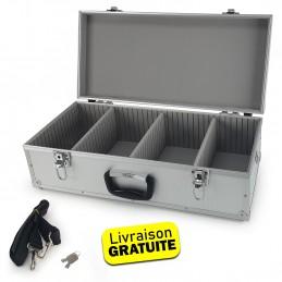 Coffret valise pour 80 Cd - Flight case modulable - 565 x 265 x 170 mm