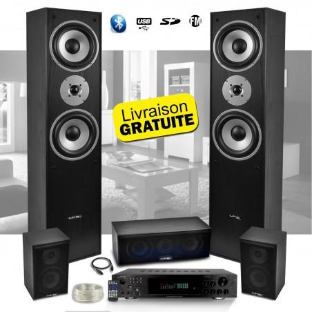 All 5 speakers E1004 Black Hifi / Home Cinema Amplifier 850W + LTC ATM8000 Karaoke USB / BT / FM / 4 + 3 x75W x20W