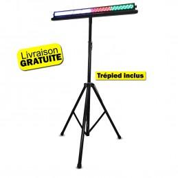 Jeu de lumière Disco Pro Barre lumineuse à Led avec support trépied - DMX - 252 Leds