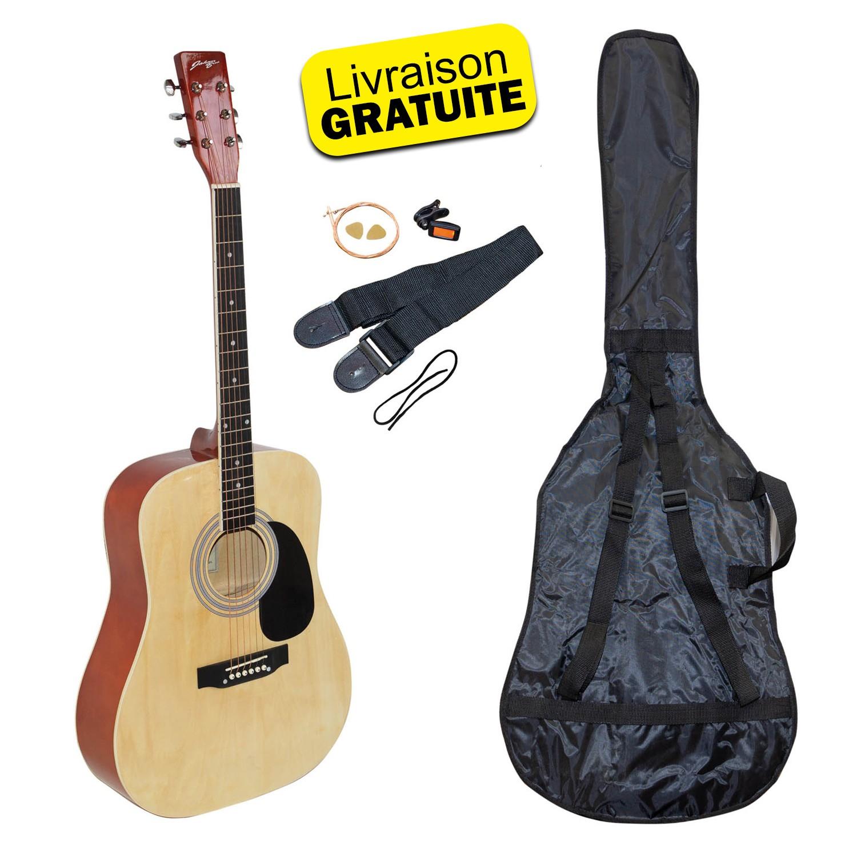 Kit Guitare Acoustique Johnny Brook JB300 Couleur Naturel avec sacoche, la sangle, le médiator et les cordes