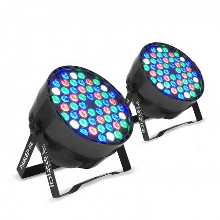 Pack 2 Projecteurs IBIZA LIGHT à LED 54 LED RGBW - 8 canaux DMX
