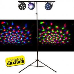 Pack de 3 jeux de lumière à led - Astro RGB, PAR RGB et Stroboscope + Portique Barre en T