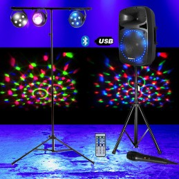 SYSTEME DE SONORISATION 500W BOOST-PK15A-SET USB Bluetooth FM + Pack de 3 jeux de lumière à LED + Portique