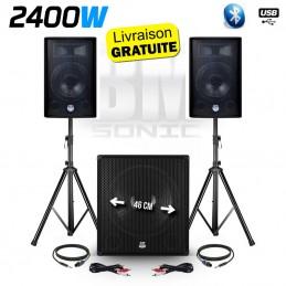 "Pack sono - BM SONIC - 2400W USB/SD/BT - 2 Enceintes 12"" + Caisson 18"" + Pieds + Mic + Tél"