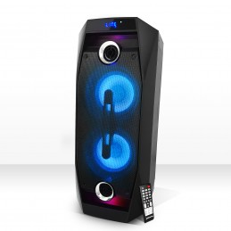 "Enceinte autonome batterie 8"" High Power LEDs RGB 500W - USB/BT/SD/FM - Pickering XS208"